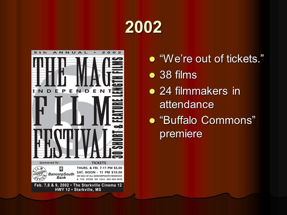 2002 We're out of tickets. We're out of tickets. 38 films 38 films 24 filmmakers in attendance 24 filmmakers in attendance Buffalo Commons premiere Buffalo Commons premiere