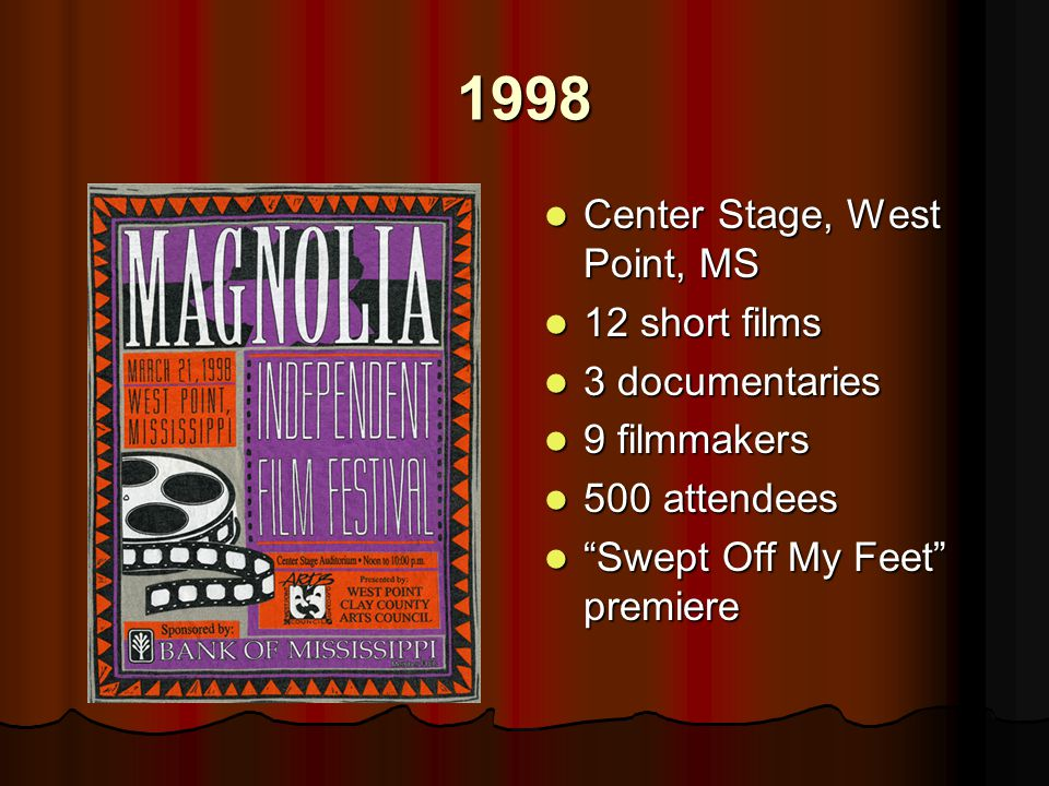 1998 Center Stage, West Point, MS Center Stage, West Point, MS 12 short films 12 short films 3 documentaries 3 documentaries 9 filmmakers 9 filmmakers 500 attendees 500 attendees Swept Off My Feet premiere Swept Off My Feet premiere