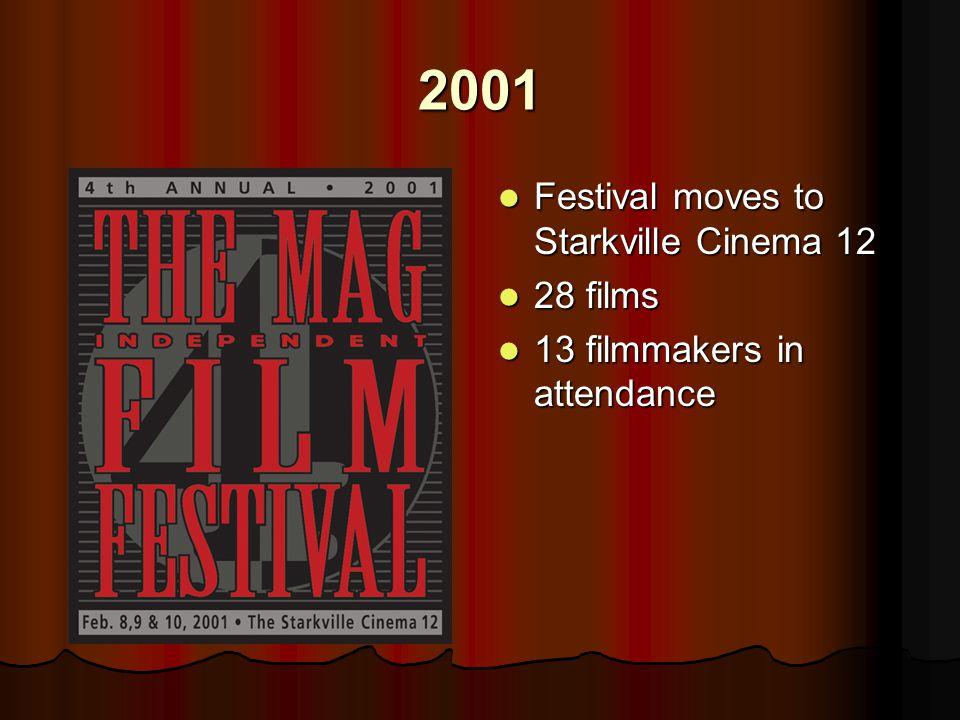 2001 Festival moves to Starkville Cinema 12 Festival moves to Starkville Cinema 12 28 films 28 films 13 filmmakers in attendance 13 filmmakers in attendance