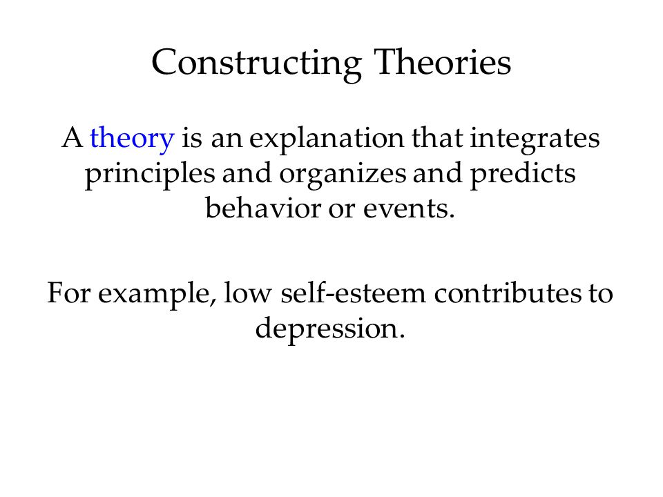 A theory is an explanation that integrates principles and organizes and predicts behavior or events.