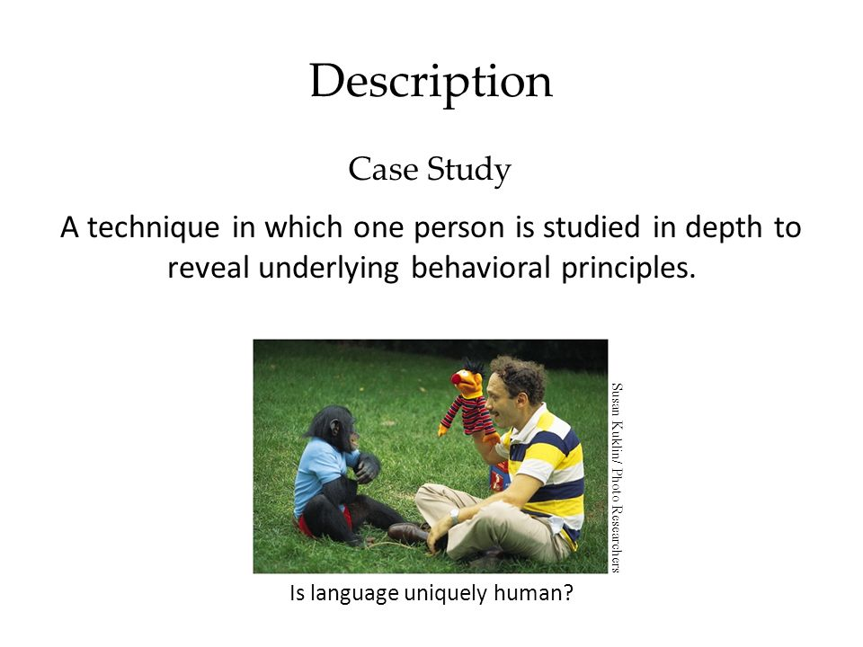 Description Case Study A technique in which one person is studied in depth to reveal underlying behavioral principles.