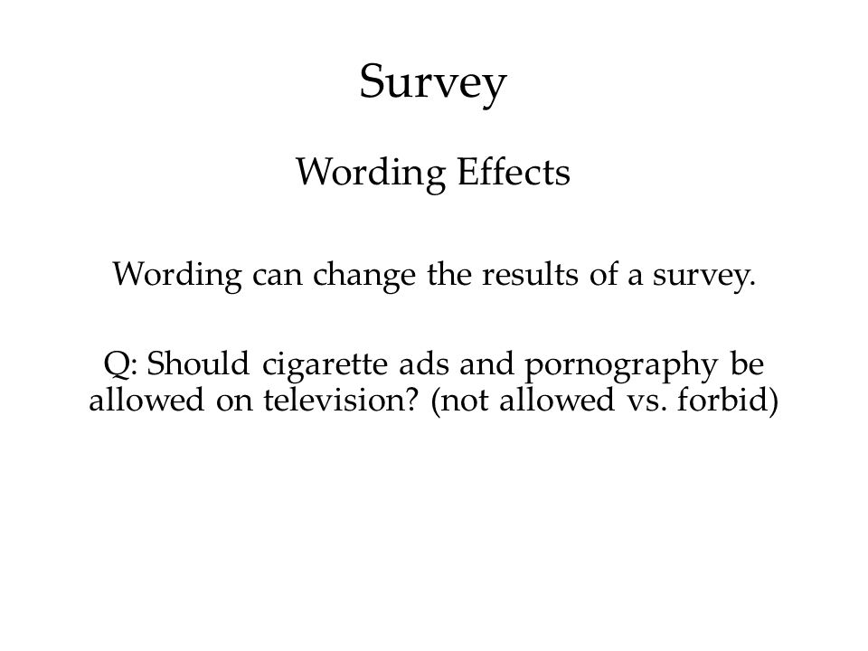 Survey Wording can change the results of a survey.