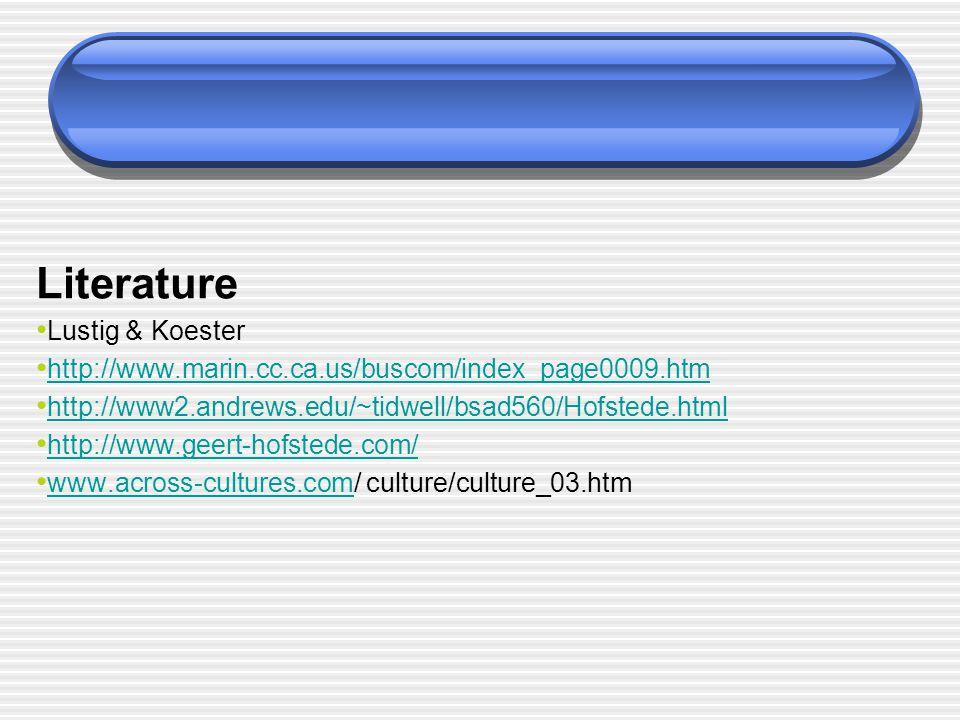 Literature Lustig & Koester http://www.marin.cc.ca.us/buscom/index_page0009.htm http://www2.andrews.edu/~tidwell/bsad560/Hofstede.html http://www.geer