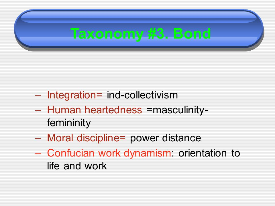 –Integration= ind-collectivism –Human heartedness =masculinity- femininity –Moral discipline= power distance –Confucian work dynamism: orientation to life and work Taxonomy #3.