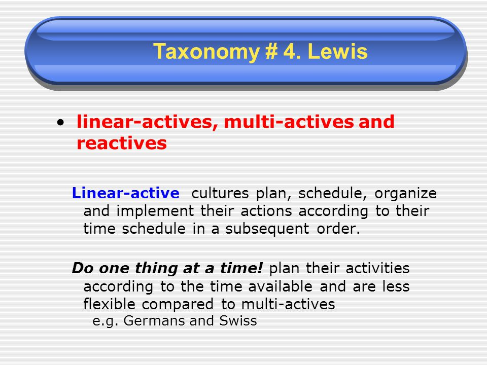 linear-actives, multi-actives and reactives Linear-active cultures plan, schedule, organize and implement their actions according to their time schedule in a subsequent order.