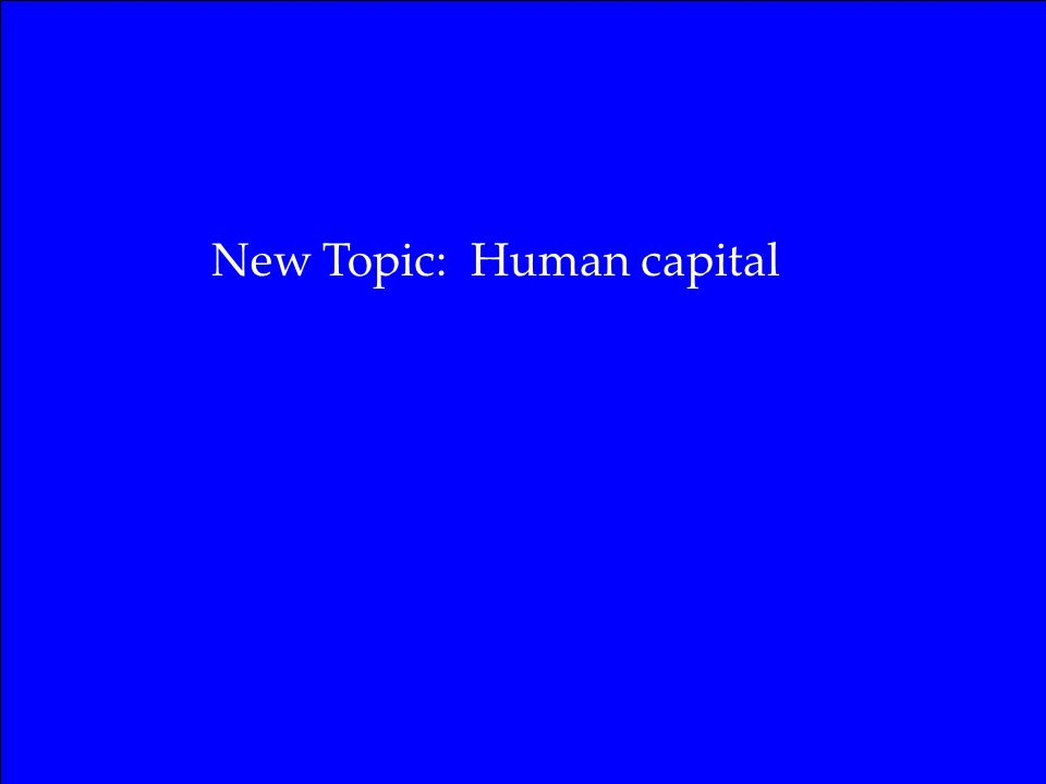 New Topic: Human capital