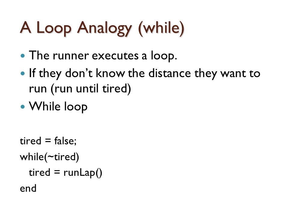A Loop Analogy (while) The runner executes a loop.