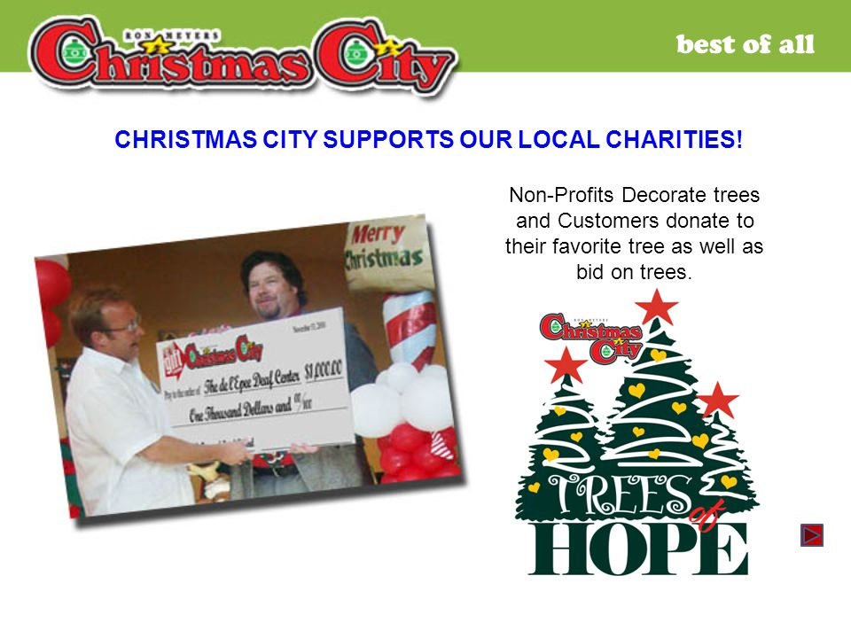 best of all Non-Profits Decorate trees and Customers donate to their favorite tree as well as bid on trees.