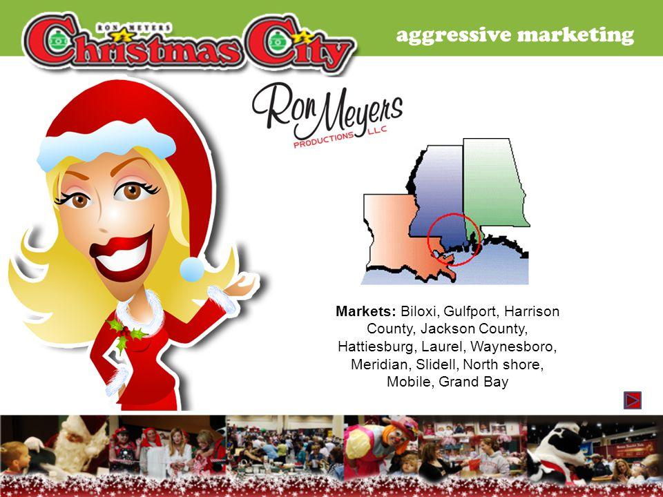 aggressive marketing Markets: Biloxi, Gulfport, Harrison County, Jackson County, Hattiesburg, Laurel, Waynesboro, Meridian, Slidell, North shore, Mobi