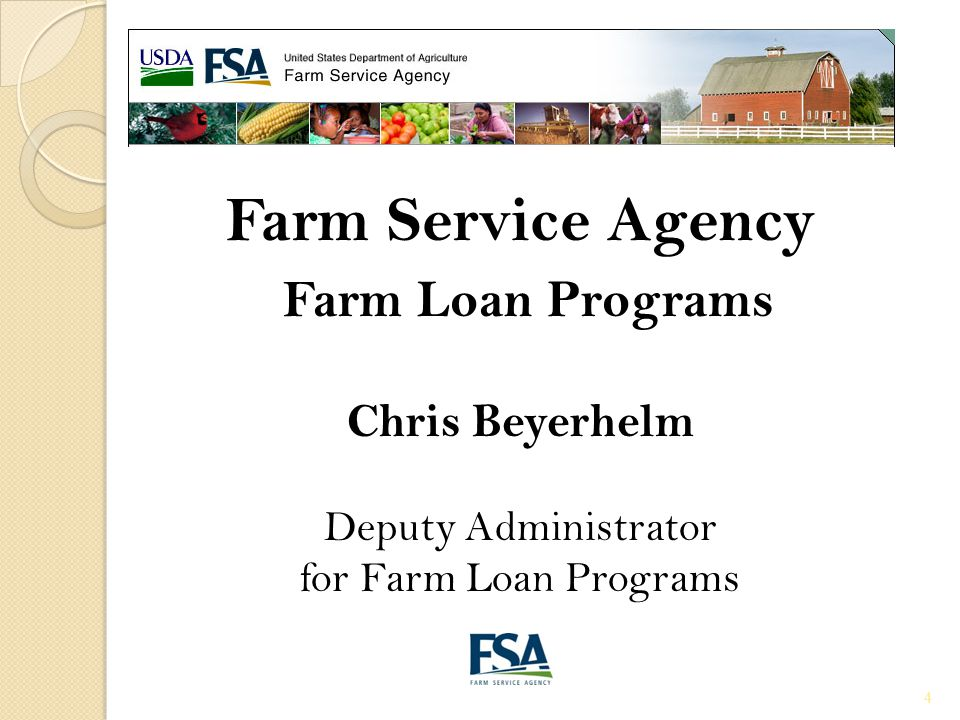 Purposes Farm Operating (OL)(LOC) Direct & Guaranteed Use of Proceeds Purchase livestock, machinery and equipment Pay annual operating and/or family living expenses Refinance operating debt Pay closing cost Payment of non-delinquent payments on term debts (OL/FO) Interest Rates-Fees Direct: varies, based on Government's borrowing cost (currently 2.25%) Guaranteed: determined by lender 1.5% Guaranteed Fee Terms up to 7 year 15