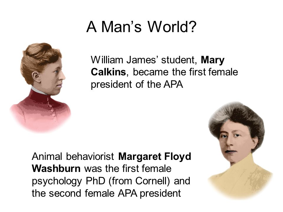 A Man's World? William James' student, Mary Calkins, became the first female president of the APA Animal behaviorist Margaret Floyd Washburn was the f
