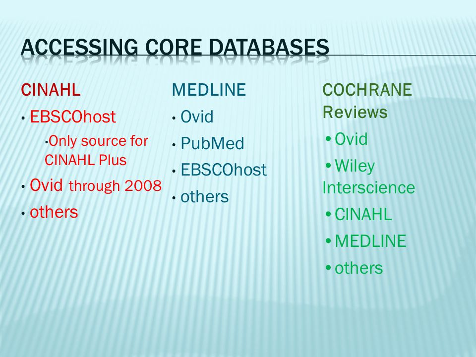 MEDLINE Ovid PubMed EBSCOhost others CINAHL EBSCOhost Only source for CINAHL Plus Ovid through 2008 others COCHRANE Reviews Ovid Wiley Interscience CI