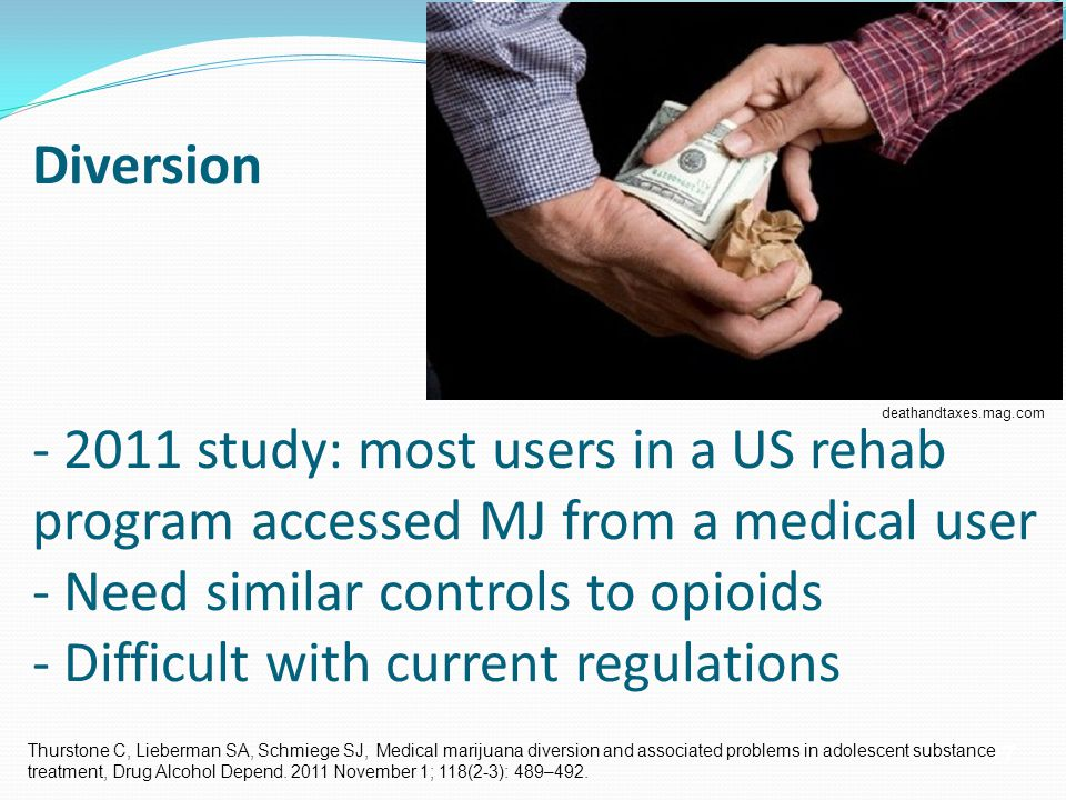 27 Diversion - 2011 study: most users in a US rehab program accessed MJ from a medical user - Need similar controls to opioids - Difficult with current regulations deathandtaxes.mag.com Thurstone C, Lieberman SA, Schmiege SJ, Medical marijuana diversion and associated problems in adolescent substance treatment, Drug Alcohol Depend.