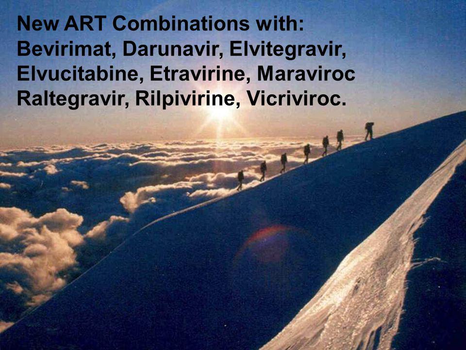 New ART Combinations with: Bevirimat, Darunavir, Elvitegravir, Elvucitabine, Etravirine, Maraviroc Raltegravir, Rilpivirine, Vicriviroc.