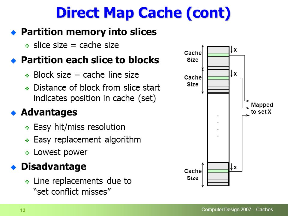 Computer Design 2007 – Caches 13 Direct Map Cache (cont) u Partition memory into slices  slice size = cache size u Partition each slice to blocks  Block size = cache line size  Distance of block from slice start indicates position in cache (set) u Advantages  Easy hit/miss resolution  Easy replacement algorithm  Lowest power u Disadvantage  Line replacements due to set conflict misses Cache Size........