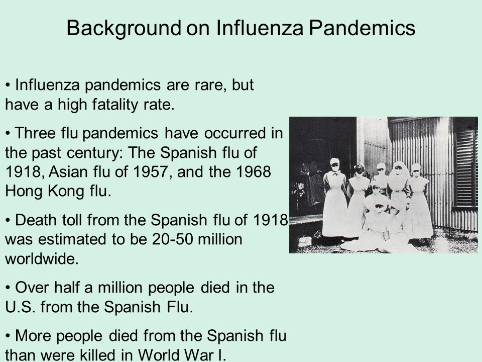 Background on Influenza Pandemics Influenza pandemics are rare, but have a high fatality rate. Three flu pandemics have occurred in the past century: