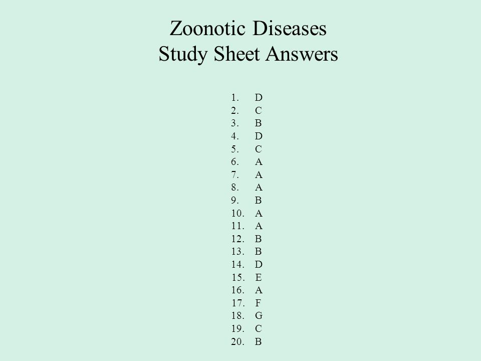 Zoonotic Diseases Study Sheet Answers 1.D 2.C 3.B 4.D 5.C 6.A 7.A 8.A 9.B 10.A 11.A 12.B 13.B 14.D 15.E 16.A 17.F 18.G 19.C 20.B