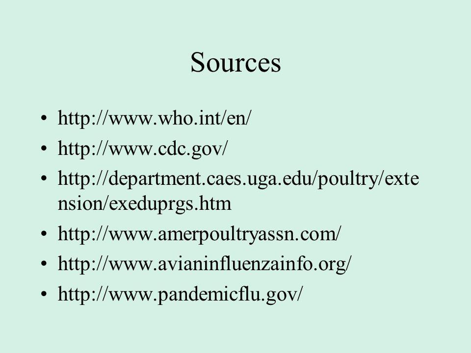 Sources http://www.who.int/en/ http://www.cdc.gov/ http://department.caes.uga.edu/poultry/exte nsion/exeduprgs.htm http://www.amerpoultryassn.com/ http://www.avianinfluenzainfo.org/ http://www.pandemicflu.gov/