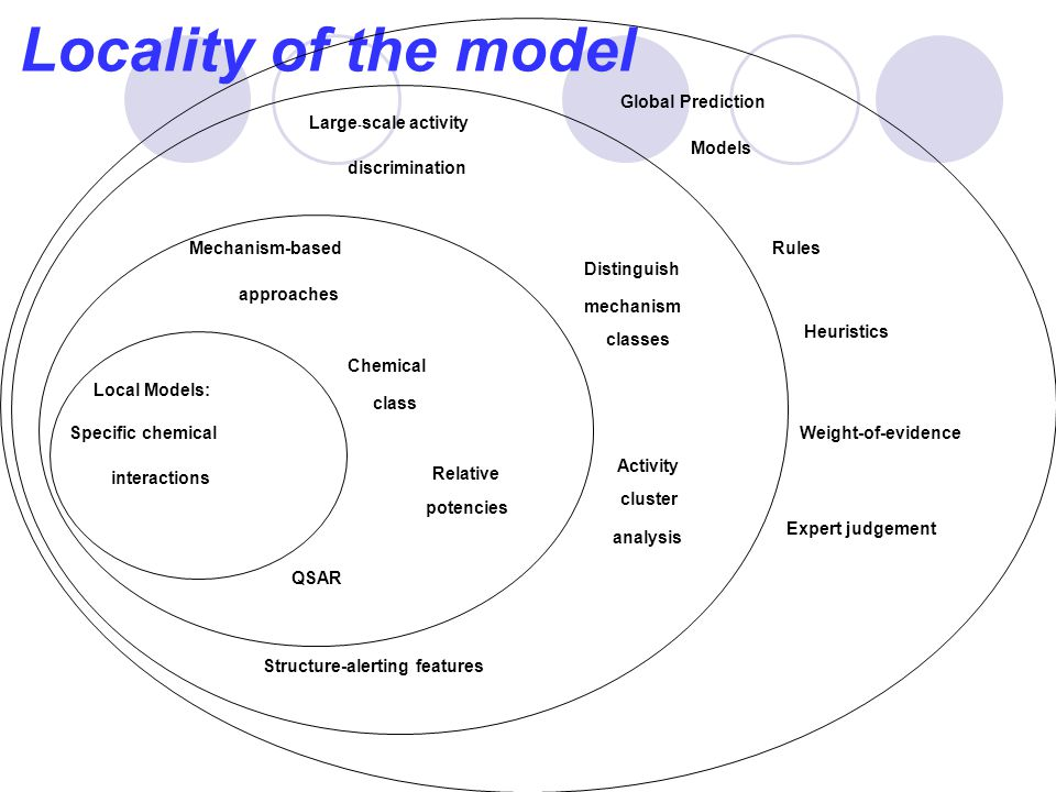 Locality of the model Local Models: Specific chemical interactions Mechanism-based approaches Chemical class Relative potencies QSAR Large - scale act