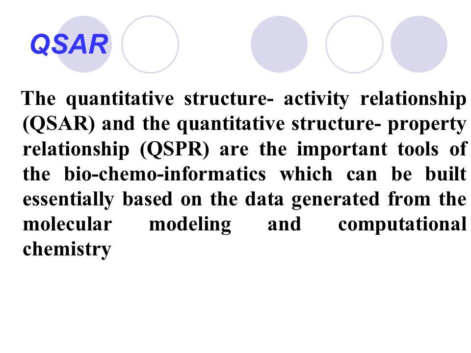 QSAR The quantitative structure- activity relationship (QSAR) and the quantitative structure- property relationship (QSPR) are the important tools of