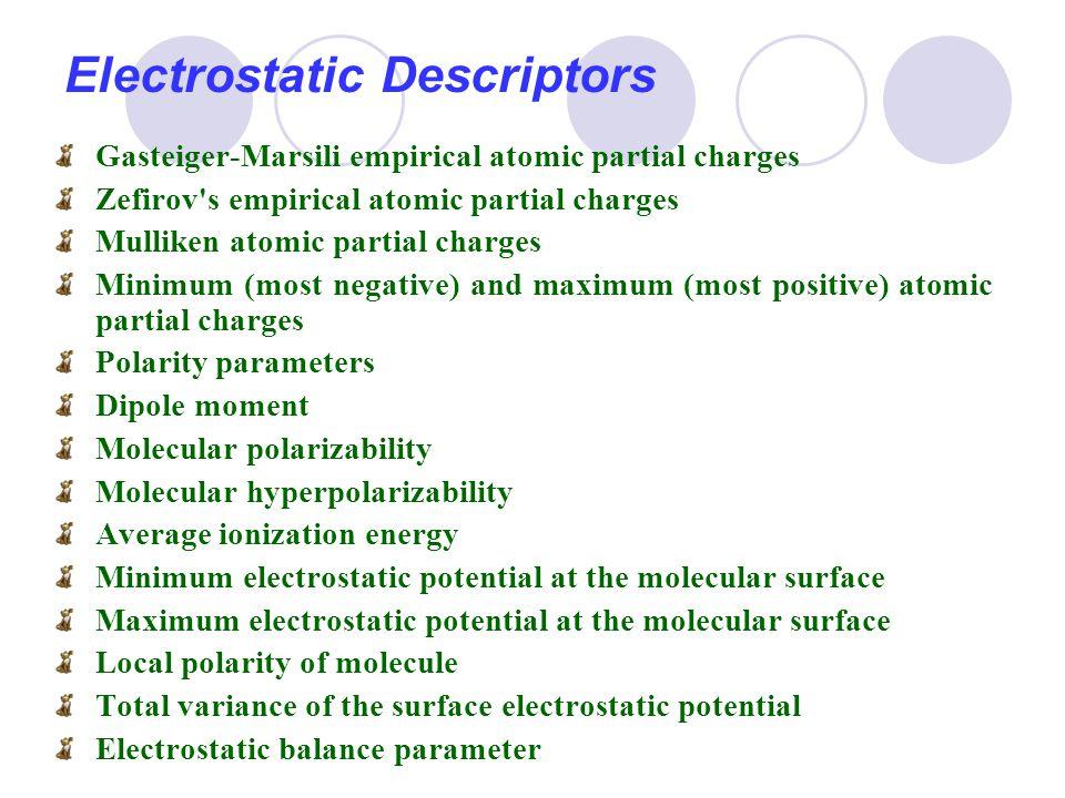 Electrostatic Descriptors Gasteiger-Marsili empirical atomic partial charges Zefirov's empirical atomic partial charges Mulliken atomic partial charge