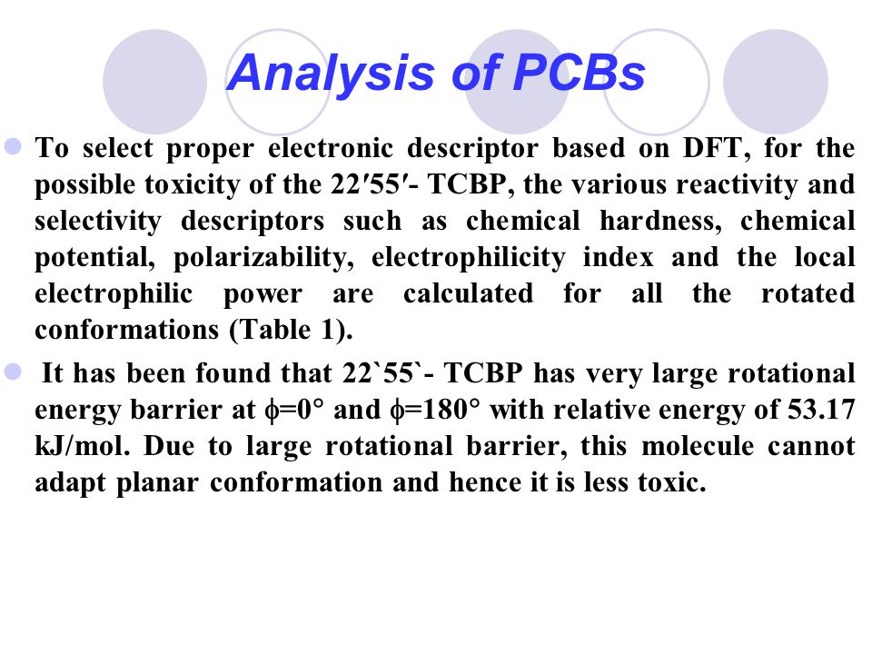 Analysis of PCBs To select proper electronic descriptor based on DFT, for the possible toxicity of the 22′55′- TCBP, the various reactivity and select