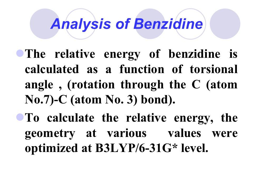 Analysis of Benzidine The relative energy of benzidine is calculated as a function of torsional angle, (rotation through the C (atom No.7)-C (atom No.