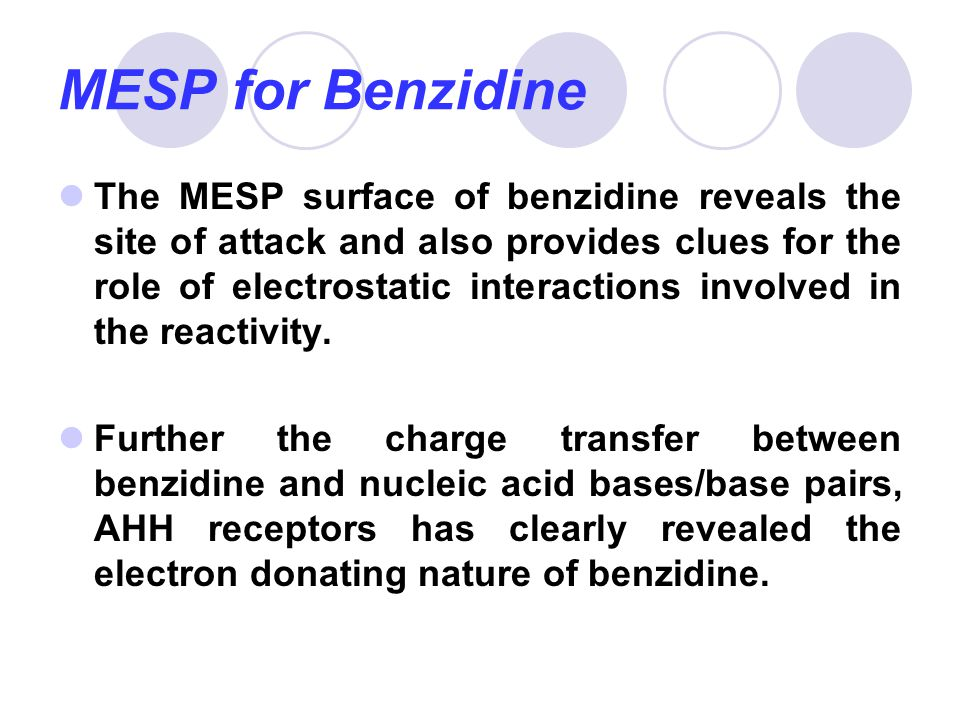 MESP for Benzidine The MESP surface of benzidine reveals the site of attack and also provides clues for the role of electrostatic interactions involve