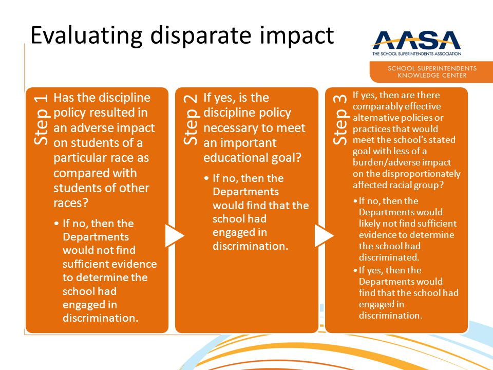 Evaluating disparate impact Step 1 Has the discipline policy resulted in an adverse impact on students of a particular race as compared with students of other races.