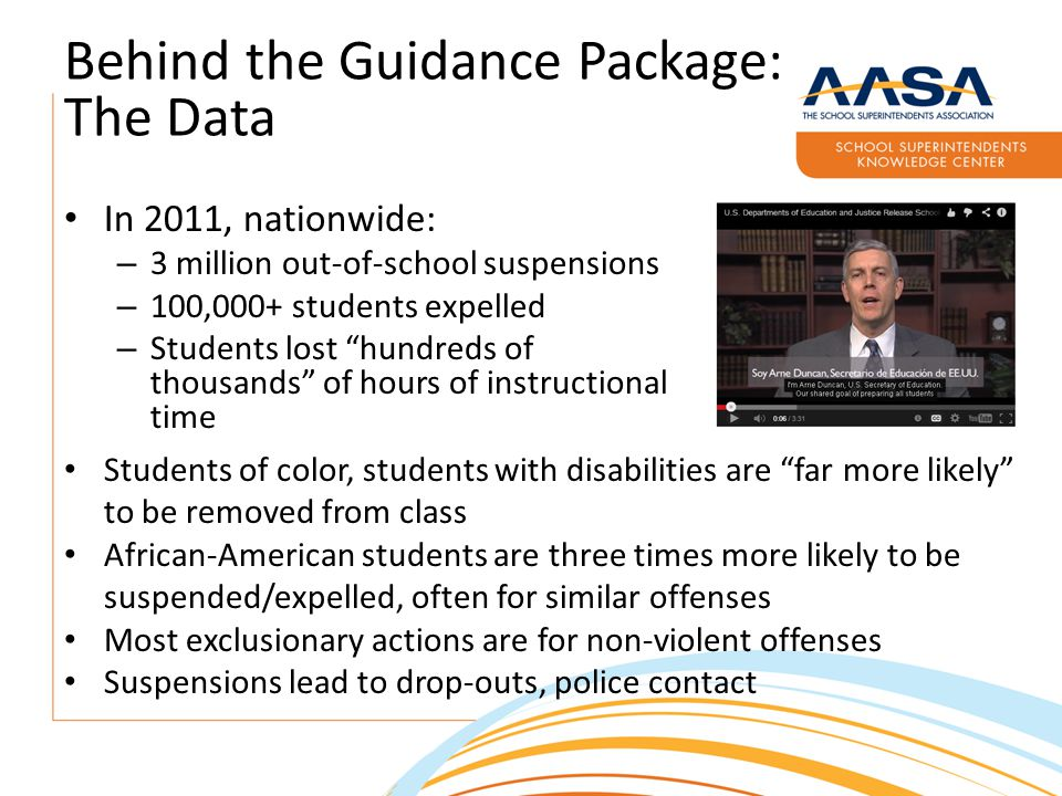 Behind the Guidance Package: The Data In 2011, nationwide: – 3 million out-of-school suspensions – 100,000+ students expelled – Students lost hundreds of thousands of hours of instructional time Students of color, students with disabilities are far more likely to be removed from class African-American students are three times more likely to be suspended/expelled, often for similar offenses Most exclusionary actions are for non-violent offenses Suspensions lead to drop-outs, police contact