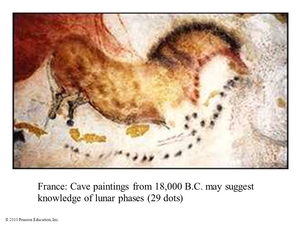 © 2010 Pearson Education, Inc. France: Cave paintings from 18,000 B.C. may suggest knowledge of lunar phases (29 dots)
