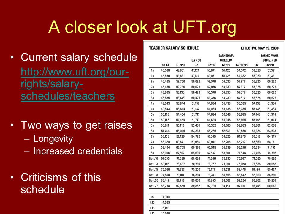A closer look at UFT.org Current salary schedule http://www.uft.org/our- rights/salary- schedules/teachers Two ways to get raises –Longevity –Increase