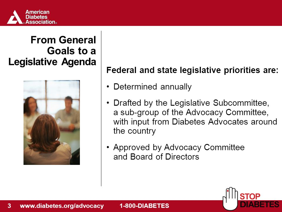 3 www.diabetes.org/advocacy 1-800-DIABETES From General Goals to a Legislative Agenda Federal and state legislative priorities are: Determined annually Drafted by the Legislative Subcommittee, a sub-group of the Advocacy Committee, with input from Diabetes Advocates around the country Approved by Advocacy Committee and Board of Directors