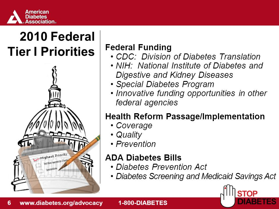 6 www.diabetes.org/advocacy 1-800-DIABETES 2010 Federal Tier I Priorities Federal Funding CDC: Division of Diabetes Translation NIH: National Institute of Diabetes and Digestive and Kidney Diseases Special Diabetes Program Innovative funding opportunities in other federal agencies Health Reform Passage/Implementation Coverage Quality Prevention ADA Diabetes Bills Diabetes Prevention Act Diabetes Screening and Medicaid Savings Act