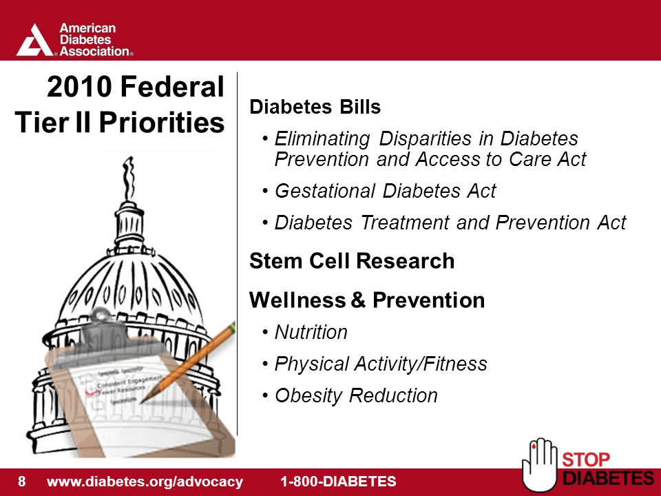 8 www.diabetes.org/advocacy 1-800-DIABETES 2010 Federal Tier II Priorities Diabetes Bills Eliminating Disparities in Diabetes Prevention and Access to Care Act Gestational Diabetes Act Diabetes Treatment and Prevention Act Stem Cell Research Wellness & Prevention Nutrition Physical Activity/Fitness Obesity Reduction