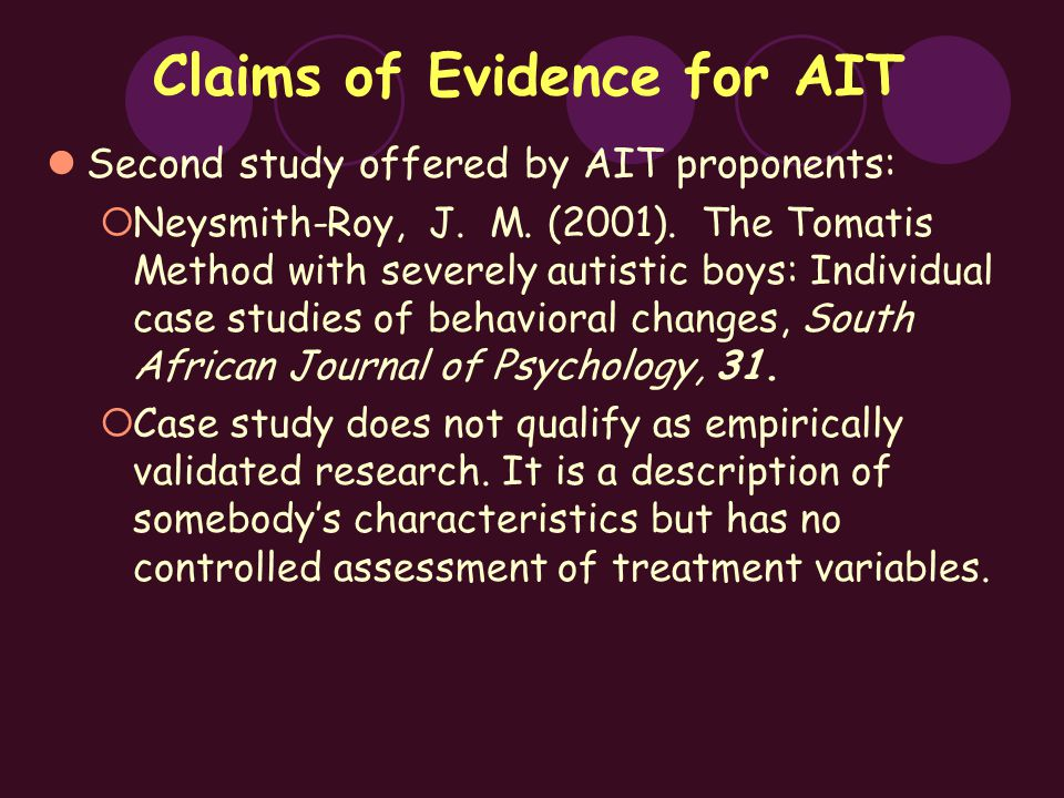 Claims of Evidence for AIT Second study offered by AIT proponents:  Neysmith-Roy, J.