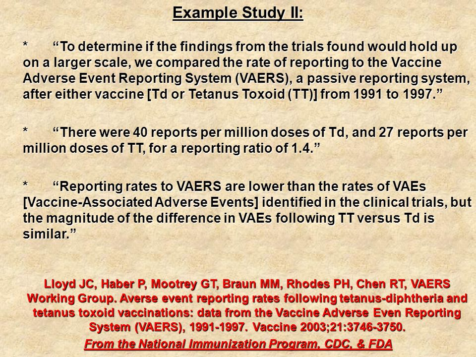 Example Study II: * To determine if the findings from the trials found would hold up on a larger scale, we compared the rate of reporting to the Vaccine Adverse Event Reporting System (VAERS), a passive reporting system, after either vaccine [Td or Tetanus Toxoid (TT)] from 1991 to 1997. * There were 40 reports per million doses of Td, and 27 reports per million doses of TT, for a reporting ratio of 1.4. * Reporting rates to VAERS are lower than the rates of VAEs [Vaccine-Associated Adverse Events] identified in the clinical trials, but the magnitude of the difference in VAEs following TT versus Td is similar. Lloyd JC, Haber P, Mootrey GT, Braun MM, Rhodes PH, Chen RT, VAERS Working Group.