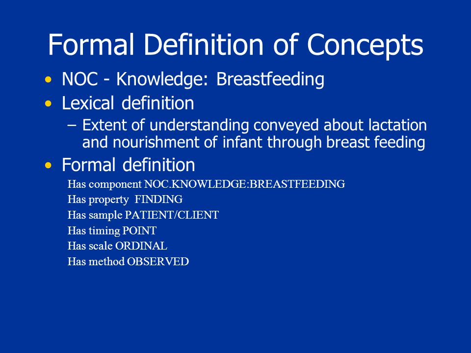 Formal Definition of Concepts NOC - Knowledge: Breastfeeding Lexical definition –Extent of understanding conveyed about lactation and nourishment of infant through breast feeding Formal definition Has component NOC.KNOWLEDGE:BREASTFEEDING Has property FINDING Has sample PATIENT/CLIENT Has timing POINT Has scale ORDINAL Has method OBSERVED