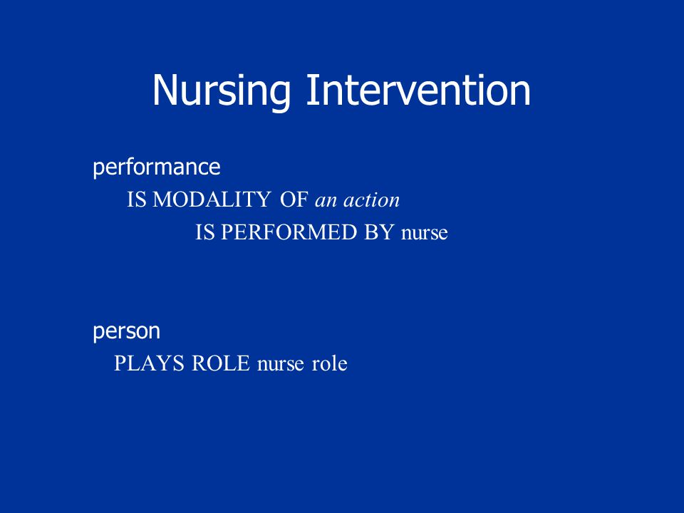 Nursing Intervention performance IS MODALITY OF an action IS PERFORMED BY nurse person PLAYS ROLE nurse role
