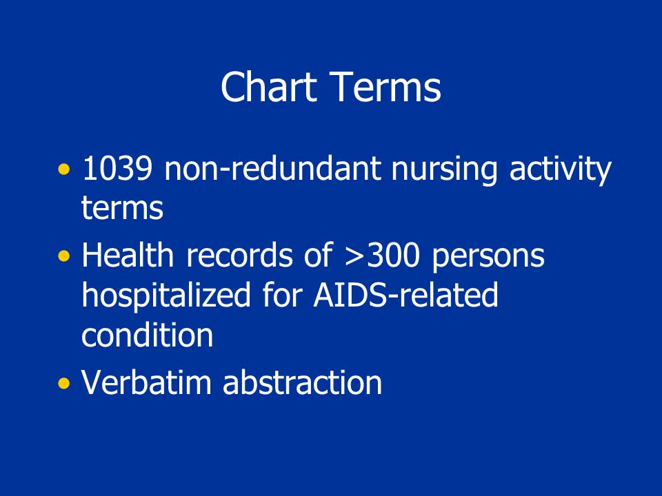 Chart Terms 1039 non-redundant nursing activity terms Health records of >300 persons hospitalized for AIDS-related condition Verbatim abstraction