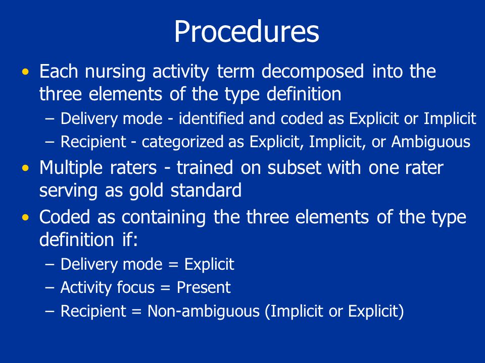 Procedures Each nursing activity term decomposed into the three elements of the type definition –Delivery mode - identified and coded as Explicit or I