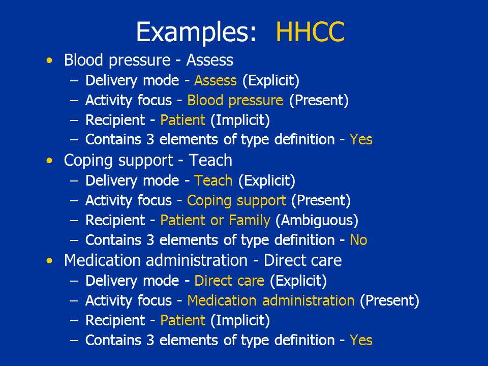 Examples: HHCC Blood pressure - Assess –Delivery mode - Assess (Explicit) –Activity focus - Blood pressure (Present) –Recipient - Patient (Implicit) –