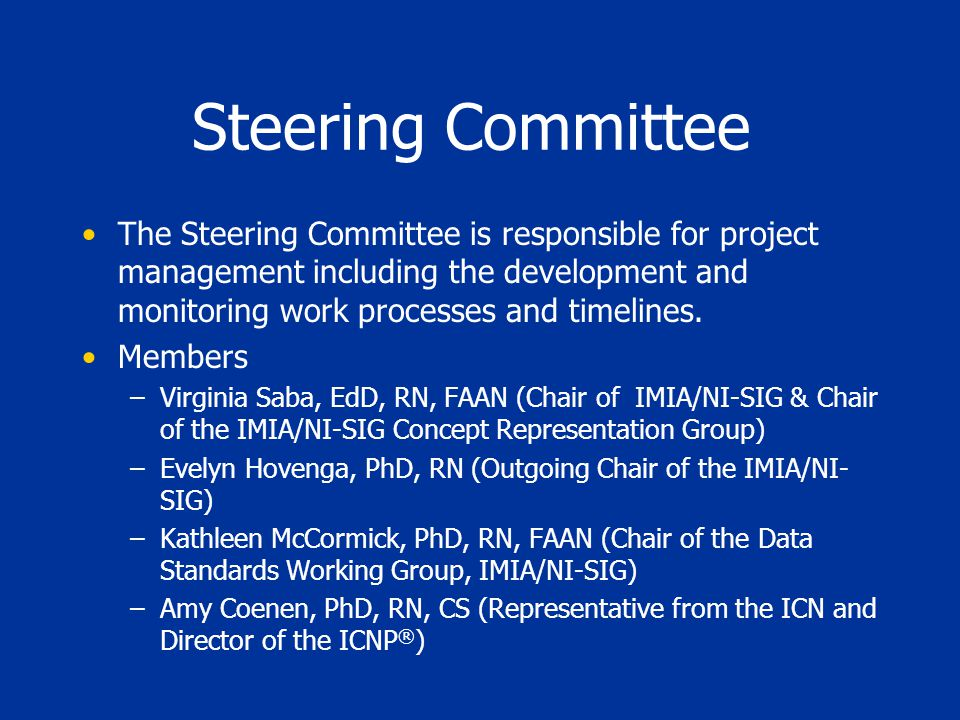 Steering Committee The Steering Committee is responsible for project management including the development and monitoring work processes and timelines.