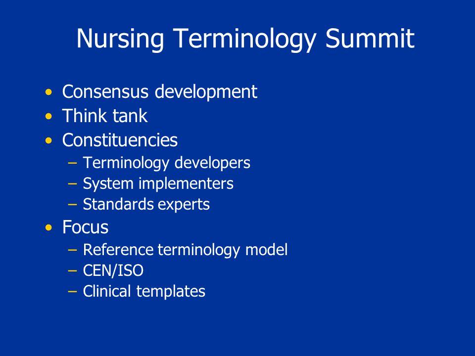 Nursing Terminology Summit Consensus development Think tank Constituencies –Terminology developers –System implementers –Standards experts Focus –Refe