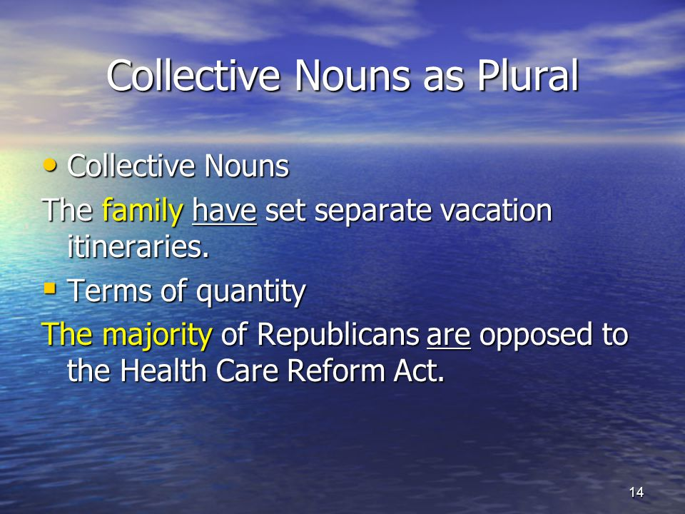 Collective Nouns as Plural Collective Nouns Collective Nouns The family have set separate vacation itineraries.