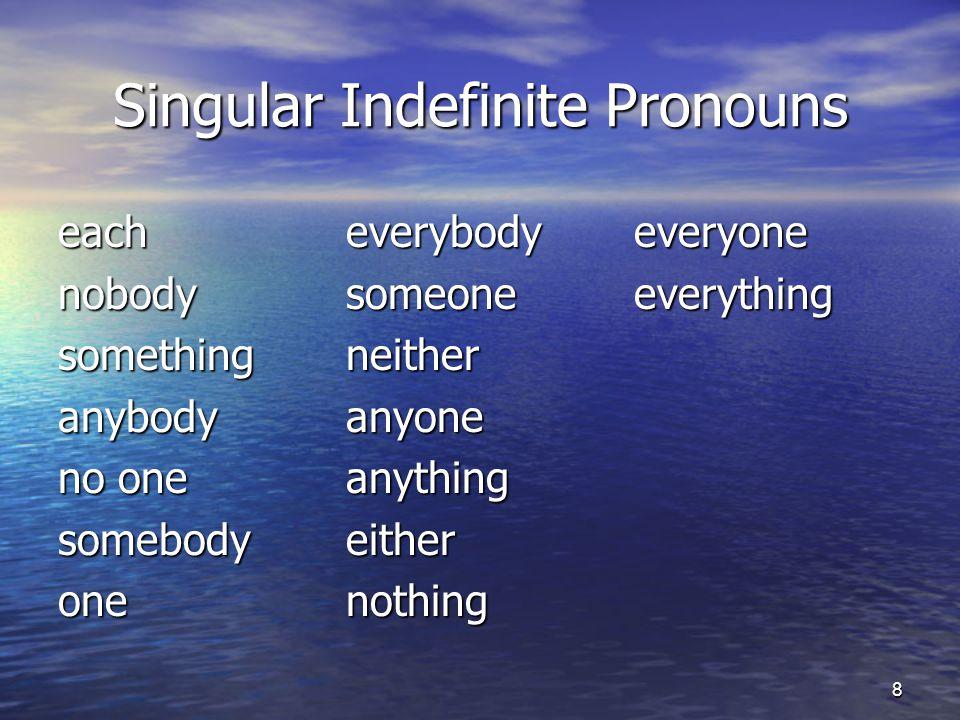 Singular Indefinite Pronouns each everybodyeveryone nobodysomeone everything somethingneither anybody anyone no oneanything somebodyeither one nothing 8