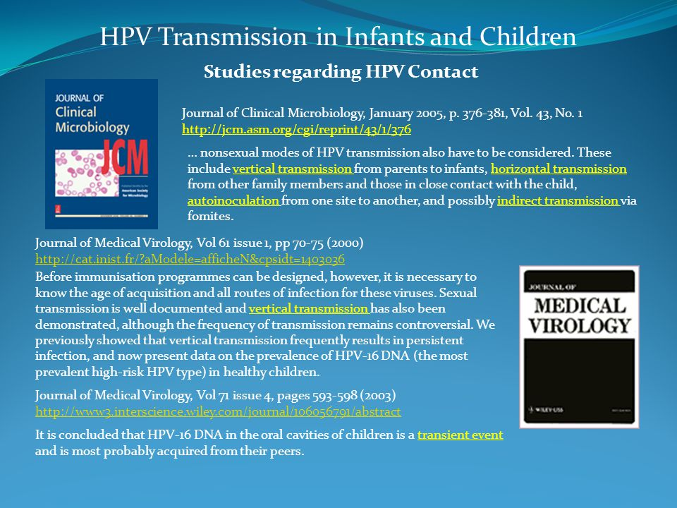 Studies regarding HPV Contact HPV Transmission in Infants and Children Journal of Clinical Microbiology, January 2005, p.