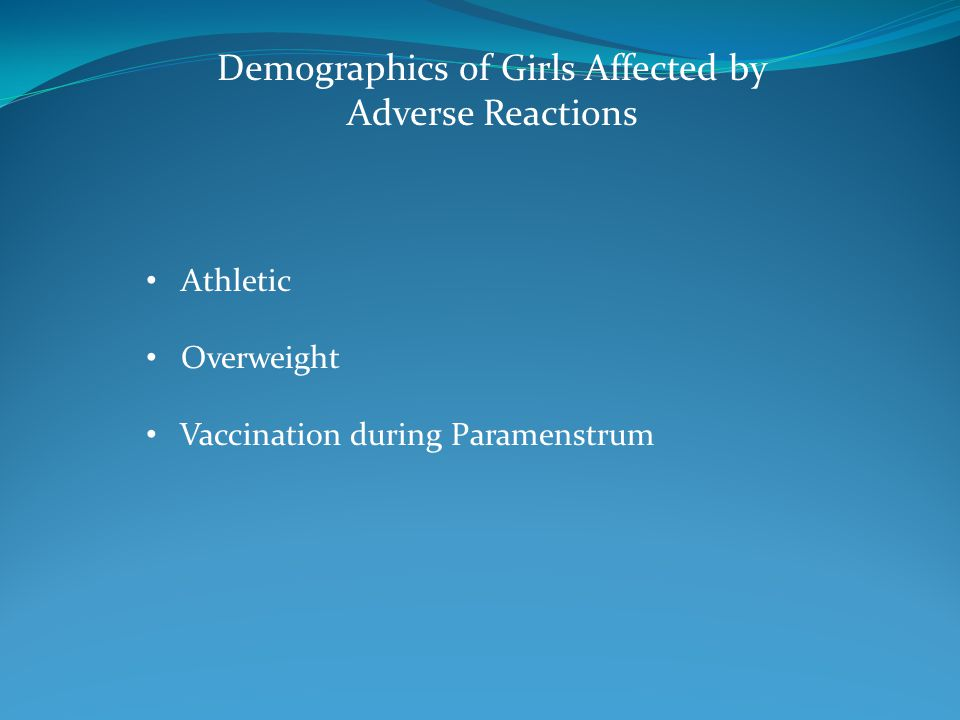 Demographics of Girls Affected by Adverse Reactions Athletic Overweight Vaccination during Paramenstrum