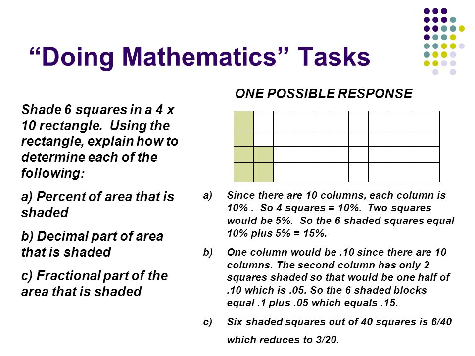 """Doing Mathematics"" Tasks Shade 6 squares in a 4 x 10 rectangle. Using the rectangle, explain how to determine each of the following: a) Percent of ar"