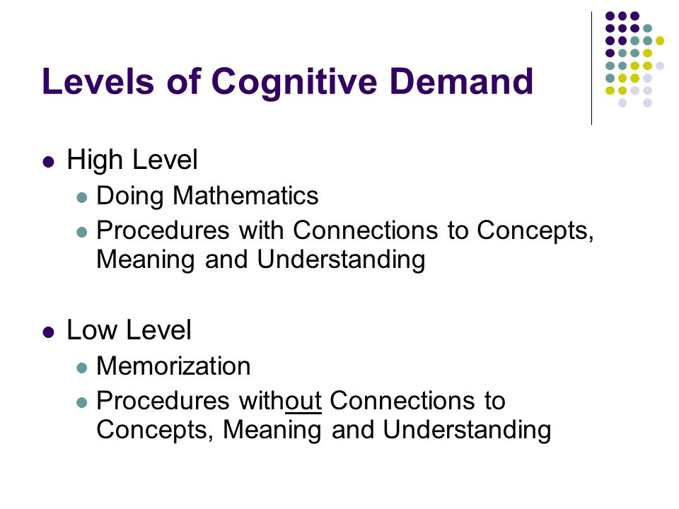 Levels of Cognitive Demand High Level Doing Mathematics Procedures with Connections to Concepts, Meaning and Understanding Low Level Memorization Proc
